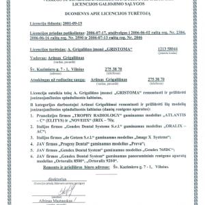 Licencija Nr. 0663 Priedas